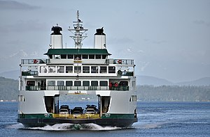 MV Chimacum - The M/V Chimacum makes her first public arrival in Seattle after her first trip from Bremerton to Seattle with passengers on board.