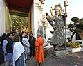M. Hamid Ansari and Smt. Salma Ansari visiting the Wat Phra Chetuphon (Temple of the Reclining Buddha), in Bangkok. The Minister of State for Home Affairs, Shri Haribhai Parthibhai Chaudhary is also seen.jpg