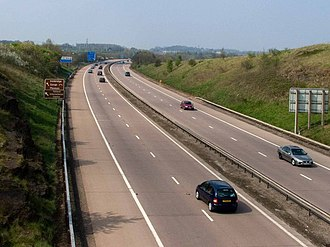 The M54 Motorway runs through the east of the county, as far as Wellington. M54, Westbound to Telford. - geograph.org.uk - 1247312.jpg