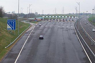Roads in the United Kingdom - The toll plaza on the M6 Toll at Great Wyrley