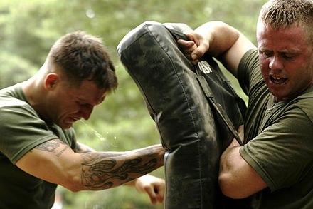 US Marines training after being exposed to pepper spray. MCMAP1.jpg