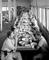 MEMBERS OF THE SPECIAL NIGHT SQUAD IN THE DINING HALL AT KIBBUTZ EIN HAROD. קיבוץ עין חרוד. בצילום, חברי פלוגות הלילה אוכלים בחדר האוכל של הקיבוץ.D393-035.jpg