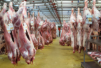 Veal - Veal carcasses in the meat products sector of the Rungis International Market, France (2011).