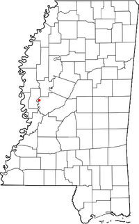 Location of Holly Bluff, Mississippi