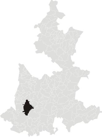 Izúcar de Matamoros - Location of Izúcar in Puebla