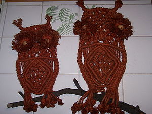 Decorative macramé owls.