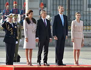 Argentina–Spain relations - Argentine President Mauricio Macri with Spanish King Felipe in Madrid, 2017.