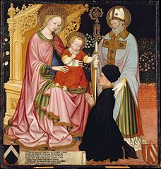 Madonna and Child with the Donor, Pietro de' Lardi, Presented by Saint Nicholas