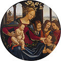 Madonna and Christ Child with Infant Saint John the Baptist and Three Angels by Workshop of Domenico Ghirlandaio.jpg