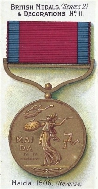 Army Gold Medal - Gold Medal for the Battle of Maida, (4 July 1806), reverse