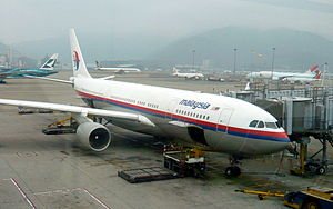 A Malaysia Airlines Airbus A330 9M-MKV after a...