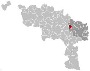 Manage, Belgium - Image: Manage Hainaut Belgium Map