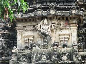 Pavalavannam temple - Stucco images of the legend of Narasimha