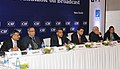Manish Tewari addressing the 5th CEOs ROUNDTABLE ON BROADCAST organized by CII, in New Delhi. The Secretary, Ministry of Information and Broadcasting, Shri Bimal Julka and other dignitaries are also seen.jpg