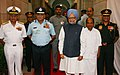 Manmohan Singh and the Defence Minister, Shri A. K. Antony with the Chief of Naval Staff, Admiral Nirmal Verma, the Chief of Air Staff, Air Chief Marshal P.V. Naik, and the Chief of Army Staff, General V.K. Singh.jpg