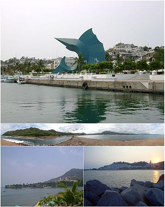 Manzanillo, Colima - Top:Malecon Monument in Audiencia area, Middle:Panoramic view of La Baquia Beach, Bottom left:View of Manzanillo Peninsula, Bottom right:Panoramic view of Hadas Bay