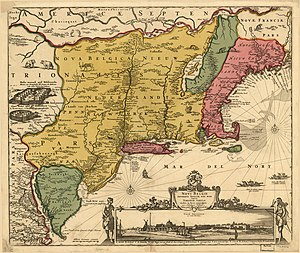 Plantations of New England - A seventeenth century map shows New England as a coastal enclave extending from Cape Cod to New France while its interior is rendered New Belgium, New Netherland and Iroquois Confederacy