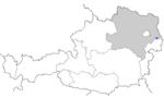 Map of Austria, position of Rohrau highlighted