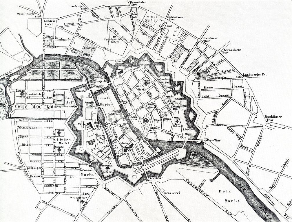 Berlin fortifié autour de son île aux musées en 1710. Les murs seront abattus en 1760 pour permettre l'expansion de la ville.