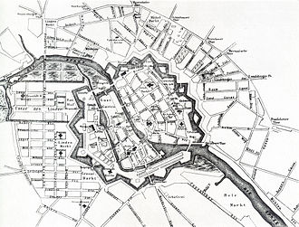 Friedrichstadt (Berlin) - A map of Berlin in 1710. Friedrichstadt appears in the lower left.