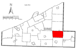 Location of Amity Township in Erie County