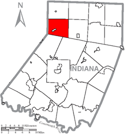 Map of Indiana County, Pennsylvania Highlighting South Mahoning Township