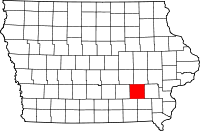 Map of Iowa highlighting Keokuk County