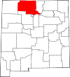 State map highlighting Rio Arriba County