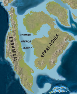 Appalachia (landmass) Mesozoic land mass separated from Laramidia to the west by the Western Interior Seaway
