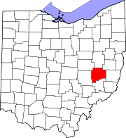 Map of Ohio highlighting Guernsey County