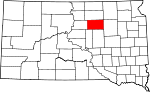 State map highlighting Faulk County