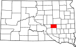 State map highlighting Jerauld County