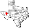 State map highlighting Reeves County