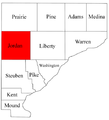 Map of Warren County Indiana highlighting Jordan Township.png