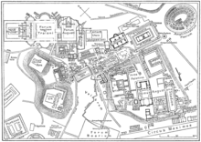 A map of central Rome during the Roman Empire, with the Colosseum at the upper right corner