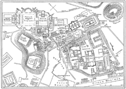 A map of central Rome during the Roman Empire, with the Colosseum at the upper right corner.