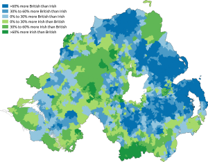 Politics of Northern Ireland - Map of predominant national identity in the 2011 census in Northern Ireland