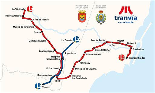 Map of the Tranvía de Tenerife