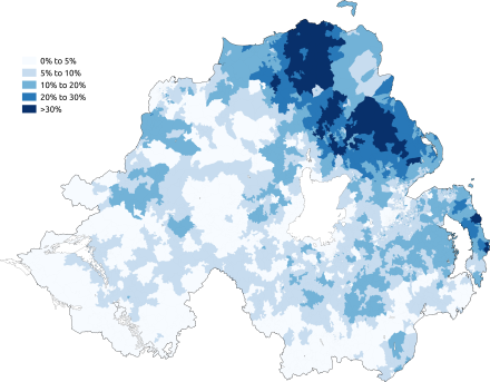 Percentage of people aged 3+ claiming to have some ability in Ulster Scots in the 2011 census Map showing the percentage of people aged 3+ claiming to have some ability in Ulster Scots in the 2011 census.png