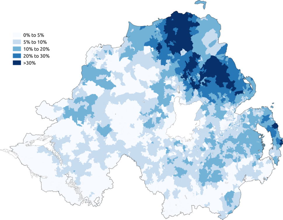 Map showing the percentage of people aged 3%2B claiming to have some ability in Ulster Scots in the 2011 census