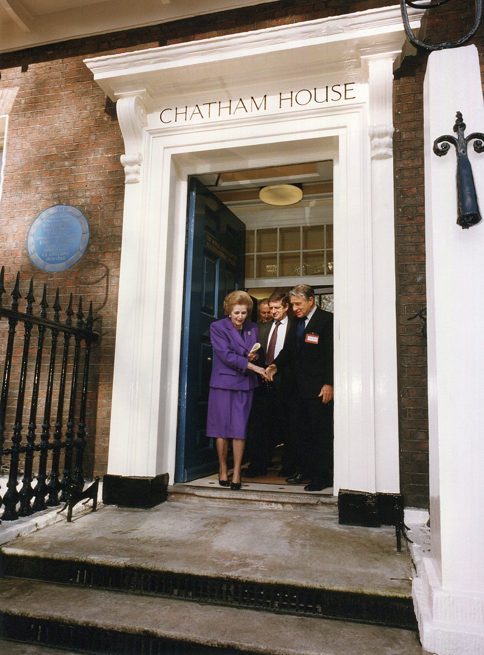 Margaret Thatcher at the door of Chatham House.