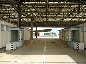 Helmstedt–Marienborn border crossing - Former control point, passport control booths at GDR immigration