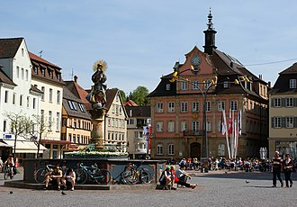 Schwäbisch Gmünd - Market place on a spring day