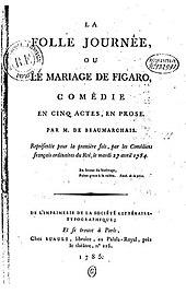 The original title page of The Marriage of Figaro (Source: Wikimedia)