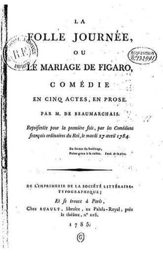 Pierre Beaumarchais - The original title page of The Marriage of Figaro