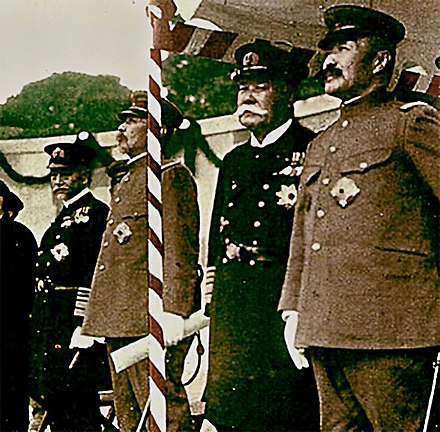 From left to right: Marshal Admiral of the Navy Heihachiro Togo (1848-1934), Marshal General of the Army Oku Yasukata (1847-1930), Marshal Admiral of the Navy Yoshika Inoue (1845-1929), Marshal General of the Army Kageaki Kawamura (1850-1926), at the unveiling ceremony of bronze statue of Marshal General of the Army Iwao Oyama Marshals Kawamura, Inoue, Oku and Togo.jpg