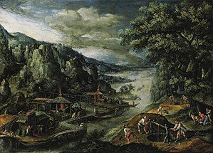 Marten van Valckenborch - A River Valley with Iron Mining Scenes