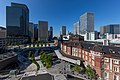 Marunouchi Central Plaza with blue sky, Tokyo station and Shin-Marunouchi Building, panoramic view from JP Tower, Tokyo, Japan.jpg