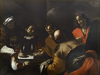 Thirty pieces of silver - Judas receiving thirty pieces of silver for betraying Jesus, by Mattia Preti, c. 1640.