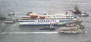 MV Mavi Marmara - Mavi Marmara making a tour of Istanbul harbour on the occasion of her return to Istanbul
